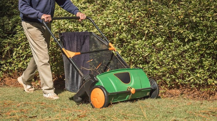 Man using a manual push lawn sweeper to pick up leaves in the yard