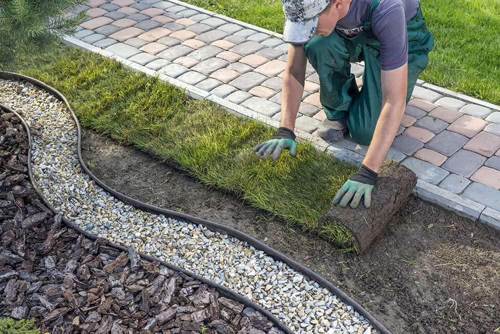 Laying sod next to concrete
