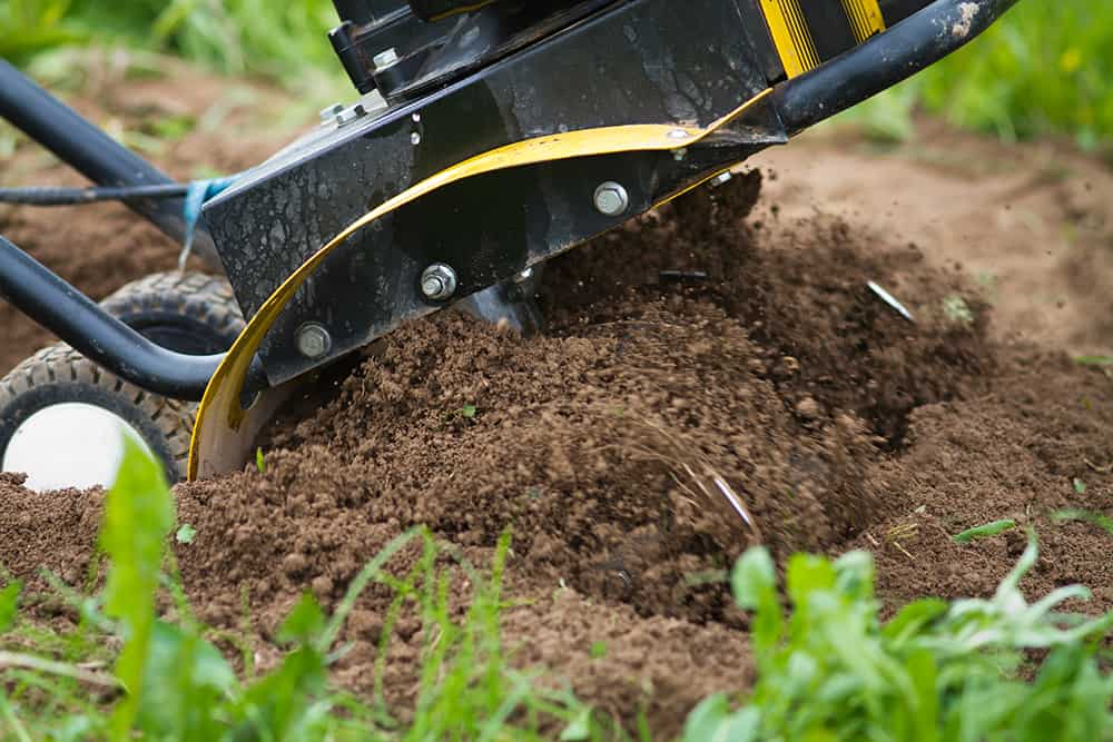 Tilling soil before laying sod
