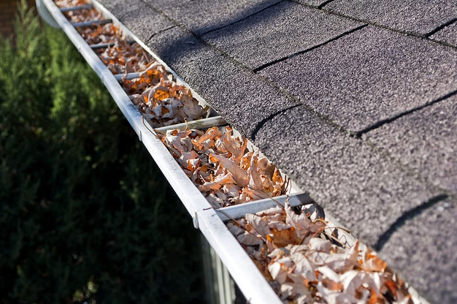Clear gutters after blowing leaves on the roof
