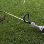 Shredding leaves with a string trimmer