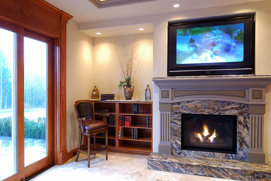 Minimum distance between fireplace and tv